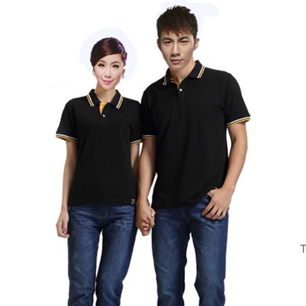 立领工装T恤-黑色