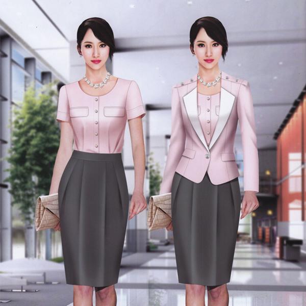 韩版女式粉色职业装