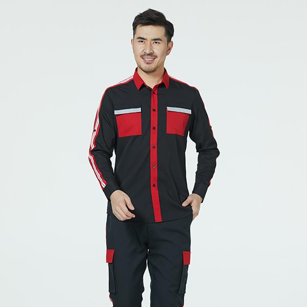 时尚红黑配色衬衫