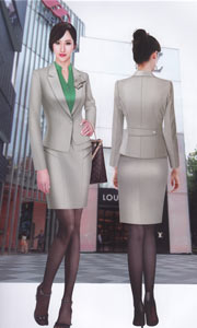 韩版女式休闲绿色职业装