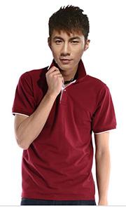 立领工装T恤-深红色