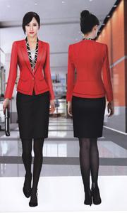韩版女式红色休闲职业套装
