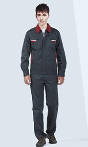 铁灰色长袖纯棉涤卡工作服