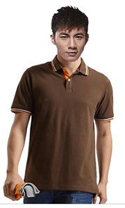 立领工装T恤-灰褐色