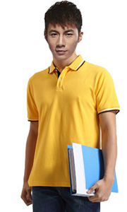 立领工装T恤-淡黄色