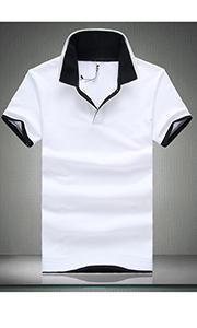 时尚白色翻领T恤