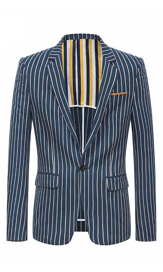 条纹时尚修身西服